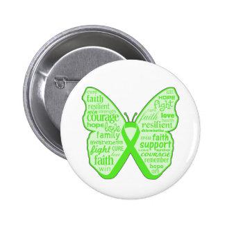 Cinta de la mariposa de la conciencia de la salud  pin redondo de 2 pulgadas