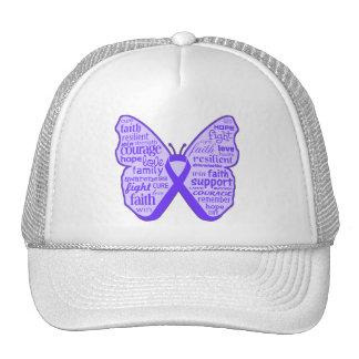 Cinta de la mariposa de la conciencia del Fibromya Gorros Bordados