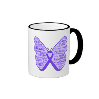 Cinta de la mariposa de la conciencia del Fibromya Taza De Café