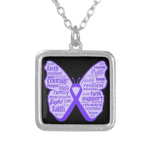 Cinta de la mariposa de la conciencia del lupus colgante cuadrado