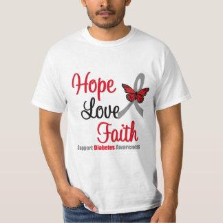 Cinta de la mariposa de la diabetes de la fe del playera