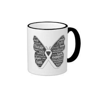 Cinta de la mariposa de la enfermedad pulmonar taza de café