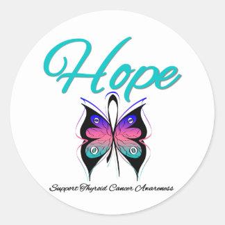 Cinta de la mariposa de la esperanza del cáncer de etiquetas redondas
