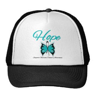 Cinta de la mariposa de la esperanza del cáncer ov gorro de camionero
