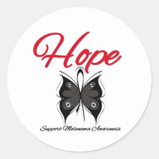 Cinta de la mariposa de la esperanza del melanoma pegatina redonda