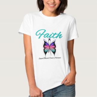 Cinta de la mariposa de la fe del cáncer de remeras