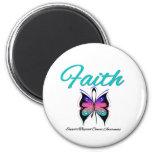 Cinta de la mariposa de la fe del cáncer de tiroid imán de nevera