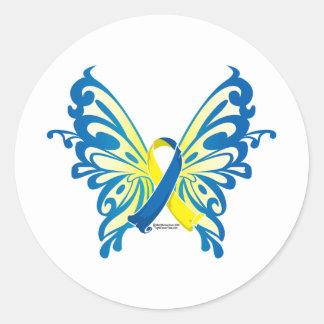 Cinta de la mariposa de Síndrome de Down Pegatina Redonda