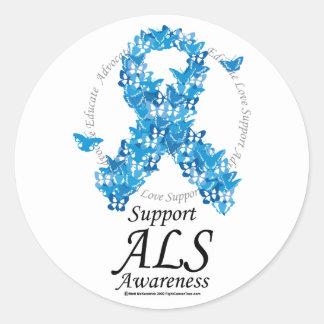 Cinta de la mariposa del ALS Pegatina Redonda