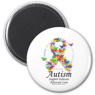 Cinta de la mariposa del autismo imán redondo 5 cm