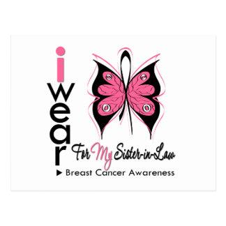 Cinta de la mariposa del cáncer de pecho mi cuñada tarjetas postales