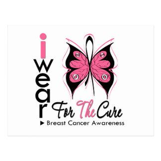 Cinta de la mariposa del cáncer de pecho para la tarjetas postales