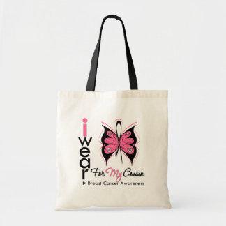Cinta de la mariposa del cáncer de pecho para mi p bolsas de mano