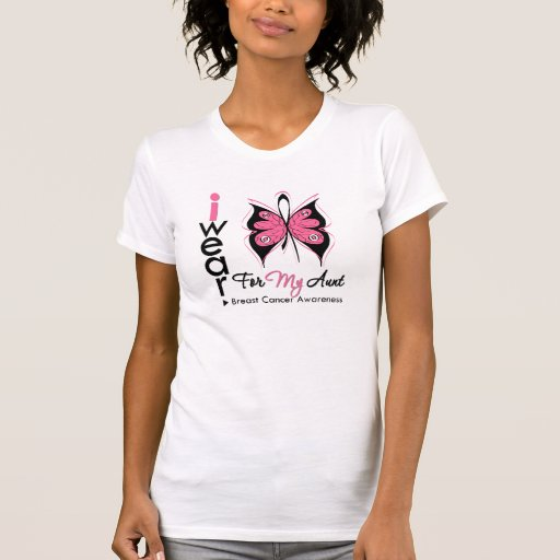 Cinta de la mariposa del cáncer de pecho para mi playera