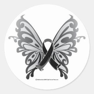 Cinta de la mariposa del cáncer de piel etiqueta redonda