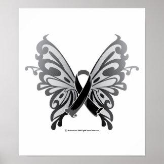 Cinta de la mariposa del cáncer de piel póster