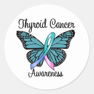 Cinta de la mariposa del cáncer de tiroides etiquetas redondas