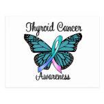 Cinta de la mariposa del cáncer de tiroides postal
