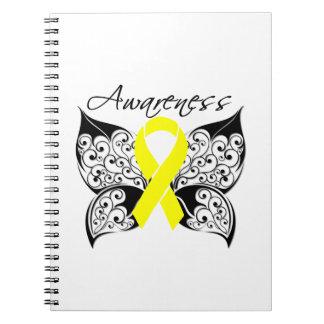 Cinta de la mariposa del sarcoma de Ewing Libros De Apuntes Con Espiral