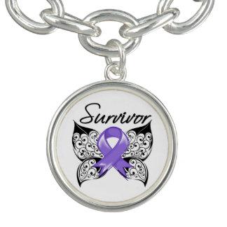 Cinta de la mariposa del superviviente del linfoma pulseras con dijer