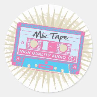 cinta de la mezcla de los años 80 etiquetas redondas