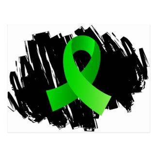 Cinta de la verde lima del linfoma con garabato tarjeta postal