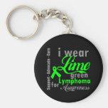 Cinta de la verde lima del linfoma para la concien llaveros