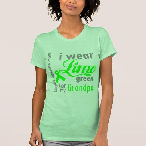 Cinta de la verde lima del linfoma para mi abuelo camiseta
