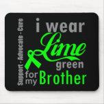 Cinta de la verde lima del linfoma para mi Brother Tapetes De Ratones