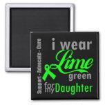 Cinta de la verde lima del linfoma para mi hija imanes para frigoríficos