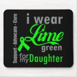 Cinta de la verde lima del linfoma para mi hija alfombrilla de raton