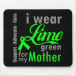 Cinta de la verde lima del linfoma para mi madre tapetes de ratón