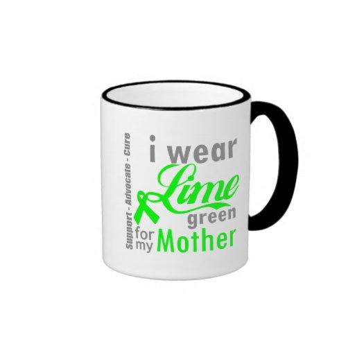 Cinta de la verde lima del linfoma para mi madre tazas de café