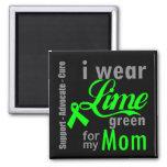 Cinta de la verde lima del linfoma para mi mamá imanes de nevera