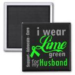 Cinta de la verde lima del linfoma para mi marido iman de nevera