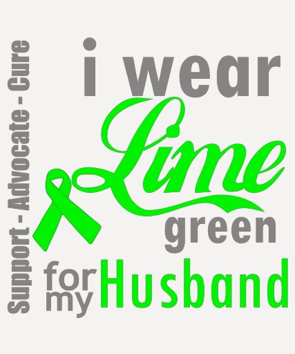 Cinta de la verde lima del linfoma para mi marido camiseta