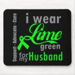 Cinta de la verde lima del linfoma para mi marido alfombrilla de raton