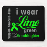 Cinta de la verde lima del linfoma para mi nieta tapete de ratón