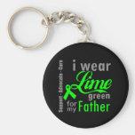 Cinta de la verde lima del linfoma para mi padre llaveros