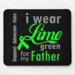 Cinta de la verde lima del linfoma para mi padre alfombrillas de raton