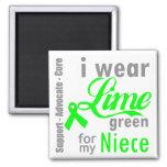 Cinta de la verde lima del linfoma para mi sobrina imán de nevera