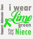 Cinta de la verde lima del linfoma para mi sobrina camisetas