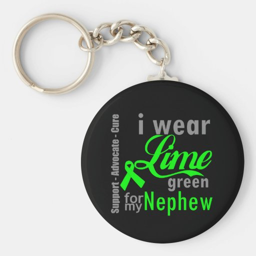 Cinta de la verde lima del linfoma para mi sobrino llaveros
