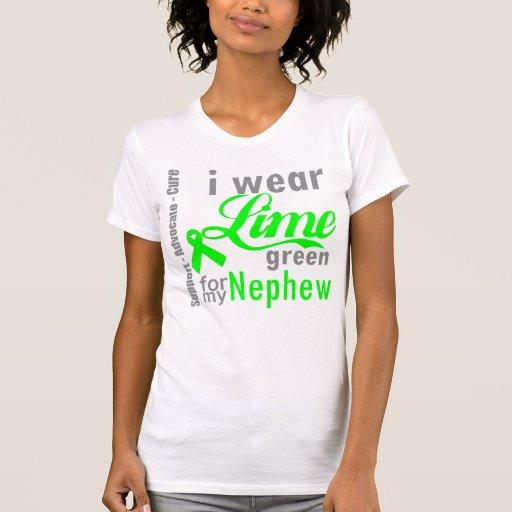 Cinta de la verde lima del linfoma para mi sobrino camisetas