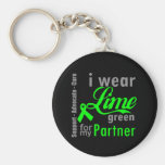 Cinta de la verde lima del linfoma para mi socio llavero