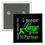 Cinta de la verde lima del linfoma para mi socio pins