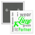 Cinta de la verde lima del linfoma para mi socio pin