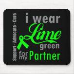 Cinta de la verde lima del linfoma para mi socio tapetes de ratón