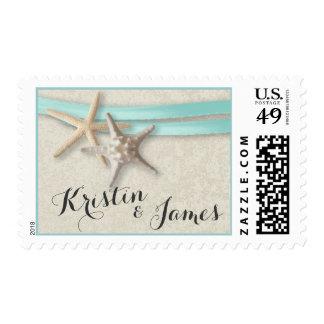 Cinta de las estrellas de mar y de la aguamarina sellos postales