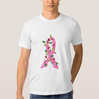 Cinta de las luces de navidad del cáncer de pecho camisas